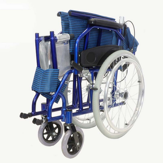 Agesup รถเข็นวีลแชร์ล้อใหญ่ 20 นิ้ว สำหรับผู้ป่วยและคนชรา พับได้ สีน้ำเงิน รุ่น Bluepearl