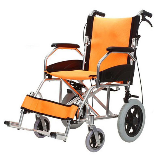 Agesup รถเข็นวีลแชร์ล้อกลาง 12 นิ้ว สำหรับผู้ป่วยและคนชรา พับได้ สีส้ม รุ่น Orange Rose