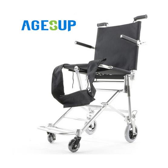 Agesup รถเข็นวีลแชร์ขนาดเล็ก สำหรับผู้ป่วยและคนชรา พับได้แบบพกพา สีดำ รุ่น SM-103