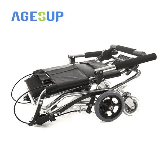 Agesup รถเข็นวีลแชร์ขนาดเล็ก สำหรับผู้ป่วยและคนชรา พับได้แบบพกพา สีดำ รุ่น S105