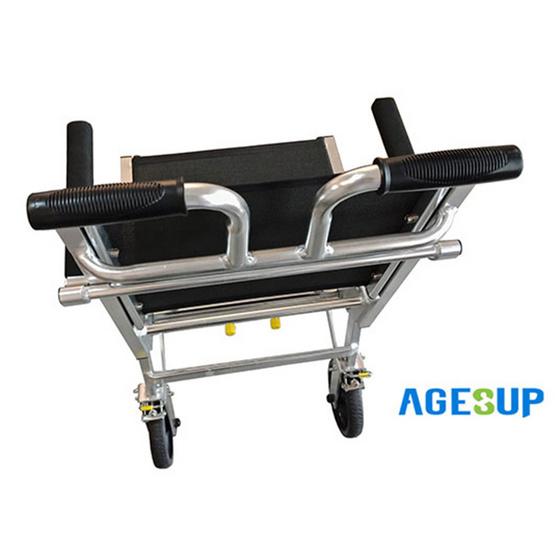 Agesup รถเข็นวีลแชร์ขนาดเล็ก สำหรับผู้ป่วยและคนชรา พับได้แบบพกพา สีดำ รุ่น SM-100