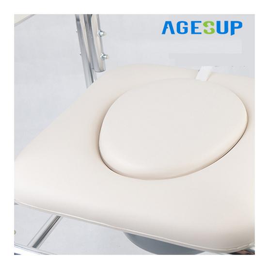Agesup เก้าอี้นั่งถ่ายเอนกประสงค์แบบมีล้อ สีขาว รุ่น CM-1