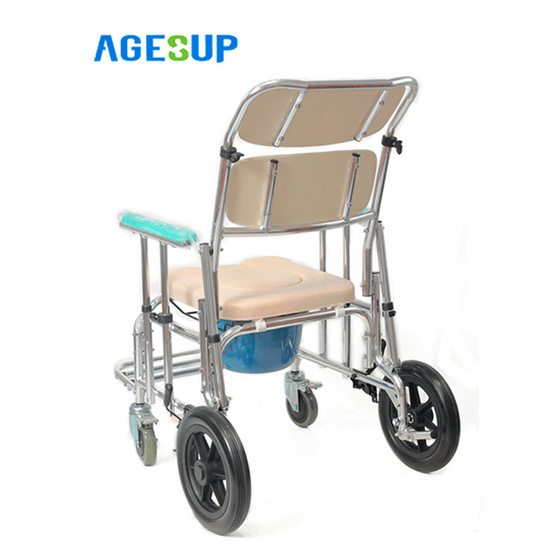 Agesup เก้าอี้นั่งถ่ายเอนกประสงค์แบบมีล้อ ปรับนอนได้ สีขาว รุ่น Daizy-1