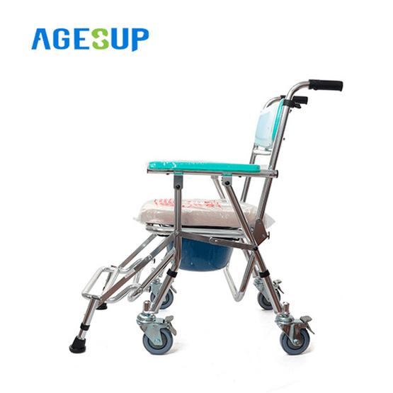 Agesup เก้าอี้นั่งถ่ายเอนกประสงค์แบบมีล้อ พับได้ สีขาว รุ่น Daizy-2
