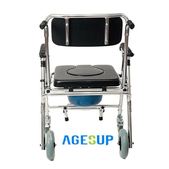 Agesup เก้าอี้นั่งถ่ายเอนกประสงค์แบบมีล้อ พับได้ สีดำ รุ่น Black Rose