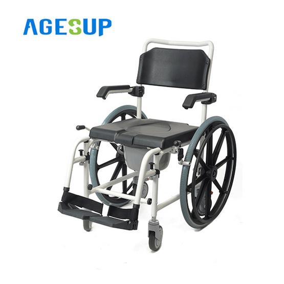 Agesup เก้าอี้นั่งถ่ายเอนกประสงค์แบบมีล้อ ล้อใหญ่ สีดำ รุ่น Orca