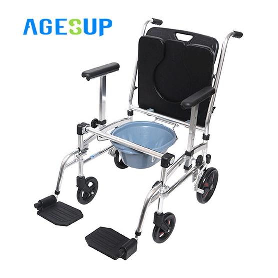 Agesup เก้าอี้นั่งถ่ายเอนกประสงค์แบบมีล้อ พับได้ สีดำ รุ่น Clover