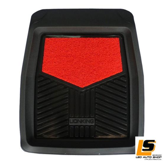 LEOMAX ถาดปูพื้นพลาสติก PVC พร้อมใยไวนิล รุ่น LION KING ด้านหน้า (สีดำ - ใยแดง)