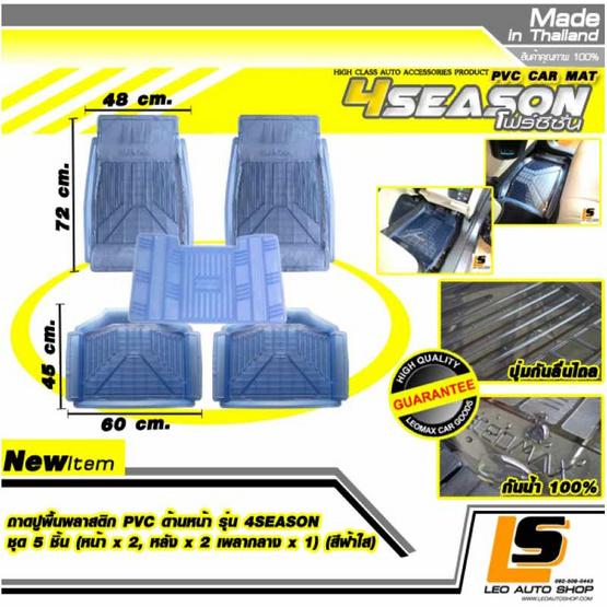 LEOMAX ถาดปูพื้นพลาสติก PVC รุ่น 4SEASON ชุด 5 ชิ้น (สีฟ้าใส)
