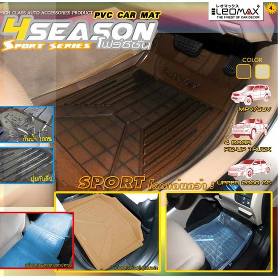 LEOMAX ถาดปูพื้นพลาสติก PVC ด้านหลัง รุ่น 4SEASON (สีฟ้าใส)