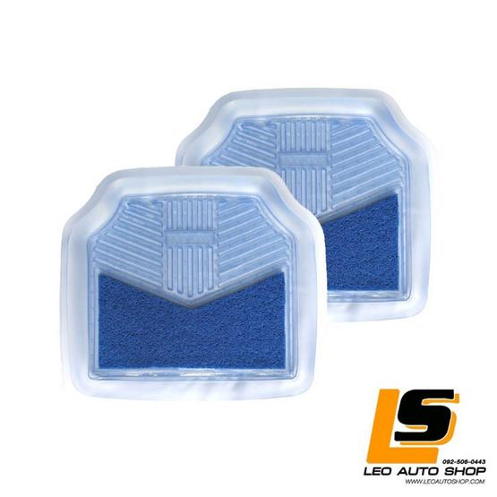 LEOMAX ถาดปูพื้นพลาสติก PVC+ใยไวนิล รุ่น LIONKING ด้านหลัง ฟ้าใส-ใยน้ำเงิน
