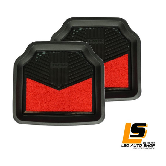 LEOMAX ถาดปูพื้นพลาสติก PVC+ใยไวนิล รุ่น LIONKING ด้านหลัง ดำ-ใยแดง