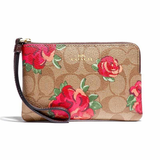 COACH F39150 CORNER ZIP WRISTLET IN SIGNATURE CANVAS WITH JUMBO FLORAL PRINT (IMLLW)[MCF39150IMLLW]