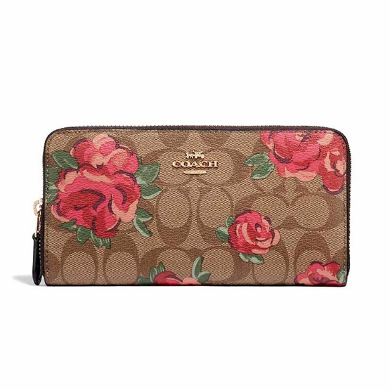 COACH F39189 ACCORDION ZIP WALLET IN SIGNATURE CANVAS WITH JUMBO FLORAL PRINT (IMLLW)[MCF39189IMLLW]
