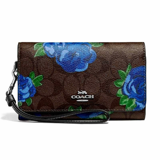 COACH F39191 FLAP PHONE WALLET IN SIGNATURE CANVAS WITH JUMBO FLORAL PRINT (SVN2R)[MCF39191SVN2R]