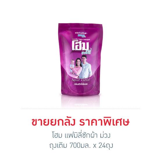 โฮม แฟมิลี่ น้ำยาซักผ้า สีม่วง ถุงเติม 700 มล. x 24 ถุง (ยกลัง)