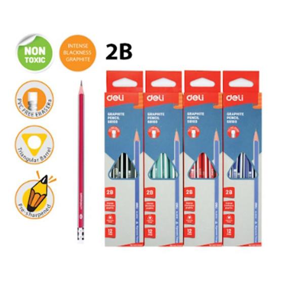 Deli ดินสอไม้2B ทรง3เหลี่ยม คละสี กล่องละสี (12แท่งในกล่อง)
