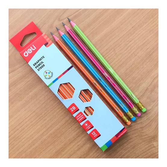 Deli ดินสอไม้2B คละสี กล่องละสี (12แท่งในกล่อง)