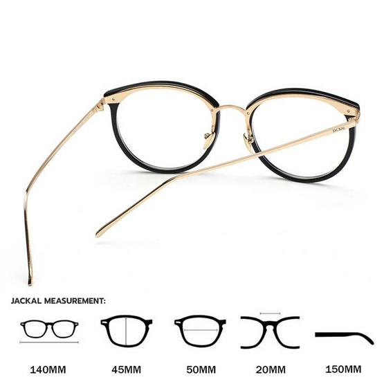 Jackal แว่นกรองแสงสีฟ้า OP007 เฟรมสีดำ ขาสีทอง