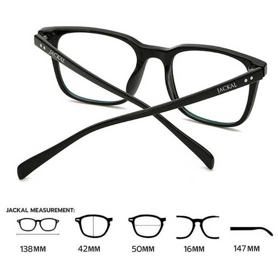 Jackal แว่นกรองแสงสีฟ้า OP011 เฟรมสีดำ