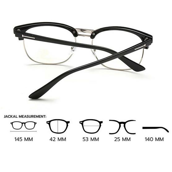 Jackal แว่นกรองแสงสีฟ้า OP012 เฟรมสีดำ