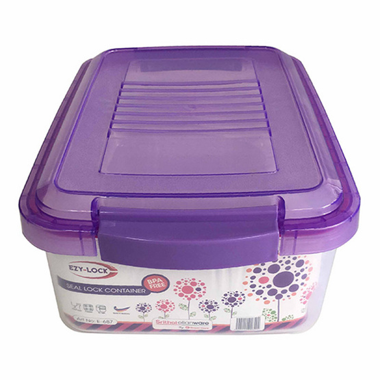 Srithai Superware กล่องบรรจุอาหาร Seal Lock รุ่น E-687 พร้อมฝาปิดสีม่วง ขนาด 6 ลิตร