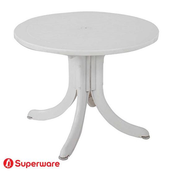 Superware โต๊ะสนามรุ่น T-16 สีขาวตรงกลางโต๊ะสามารถปักร่มได้