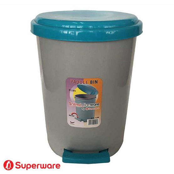 Srithai Superware ถังขยะพร้อมที่เหยียบเปิดปิดรุ่น E-295 ขนาด 6 ลิตร