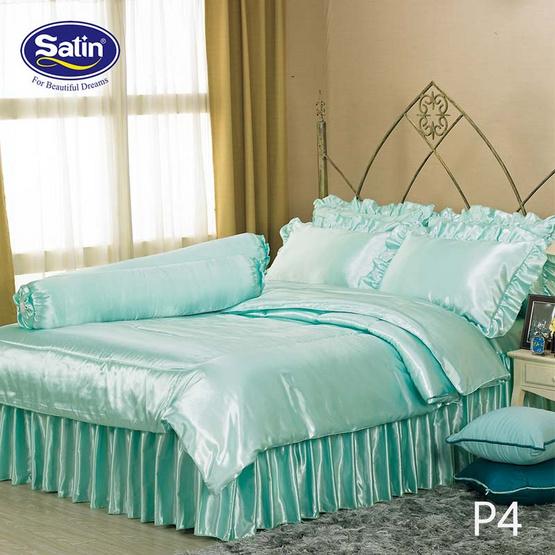 Satin Silk Touch ผ้าปูที่นอนแพรไหม ลาย P4 เขียว (ไม่มีระบาย)