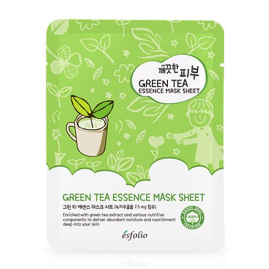 Esfolio มาส์กแผ่น สูตรสารสกัดจากชาเขียว Pure Skin Green Tea Essence Mask Sheet