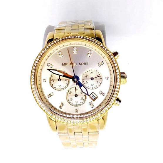 Michael kors นาฬิกา MK6342 Gold Tone Dial Chronograph Ladies Watch