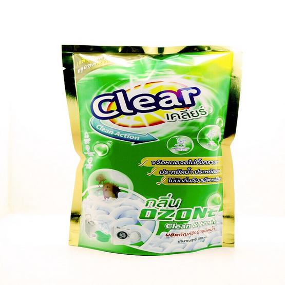 Clear เคลียร์ น้ำยาซักผ้า กลิ่นโอโซน 790 มล. x 18 ถุง (ยกลัง)