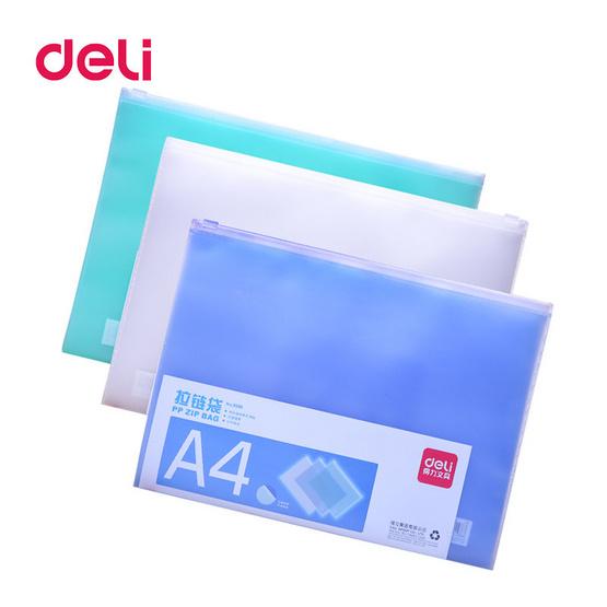Deli 5588 ซองซิปรูดพลาสติกใส A4 (คละสี1ชิ้น)