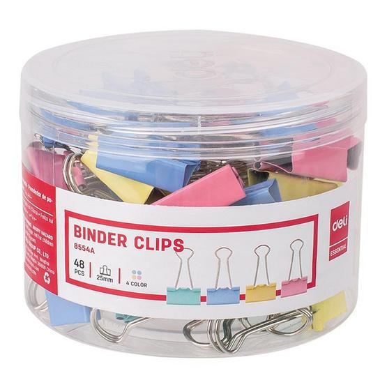 Deli Paper Cilps คลิปหนีบกระดาษ 25 มม. คละสีพาสเทล (กล่อง 48 ชิ้น)