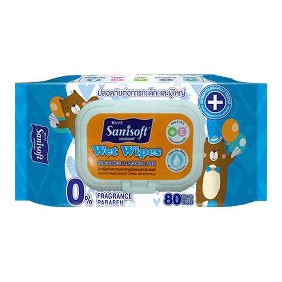 Sanisoft ผ้าเช็ดผิวอเนกประสงค์ ปราศจากแอลกอฮอล์ 80 แผ่น (1 แพ็ค)
