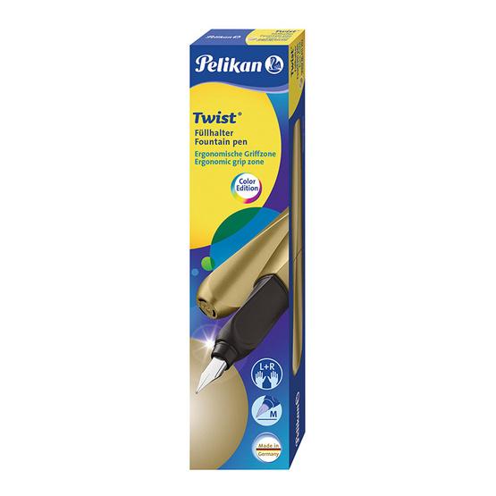 Pelikan ปากกาหมึกซึม TWIST Pure Gold (แถมฟรี! หมึกหลอด 2 กล่อง)