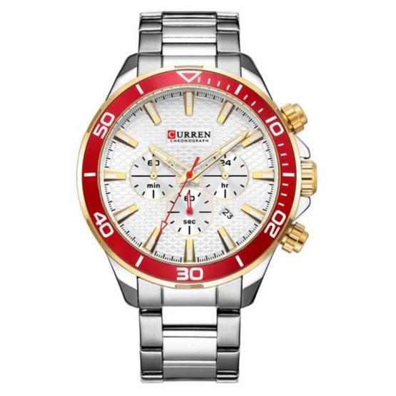 Curren นาฬิกาข้อมือผู้ชาย รุ่น C8309 เงิน/แดง