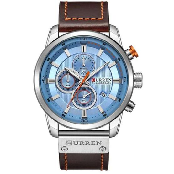 Curren นาฬิกาข้อมือผู้ชาย รุ่น C8291 น้ำตาล/ฟ้า