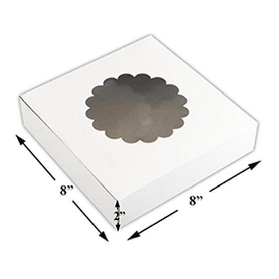 ตราสนคู่ กล่องเค้กแม็ค 1 ปอนด์เตี้ย ไม่ห่อย่อย (8x8x2 นิ้ว) เจาะดอกไม้ (1 แพ็ค 50 ชิ้น)