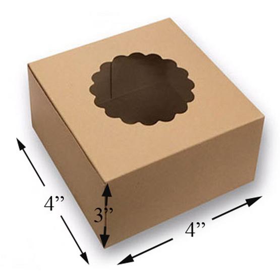 ตราสนคู่ กล่องเบเกอร์รี่ 4x4x3 นิ้ว เจาะดอกไม้ วอลนัทบราวน์ (20 ชิ้น x 5 แพ็ค)
