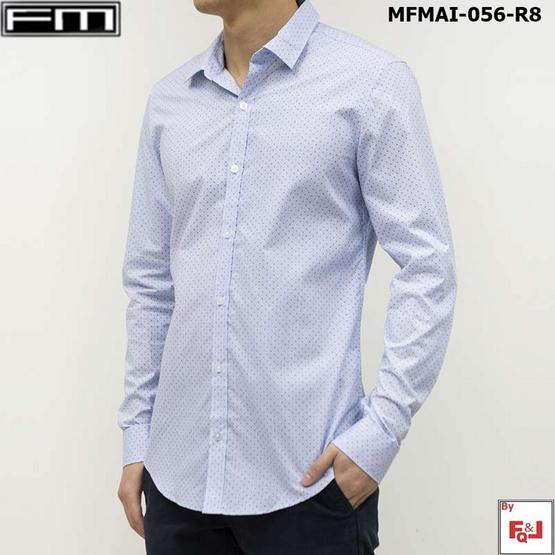 FM  เสื้อเชิ้ตแขนยาวพิมพ์ลาย (MFMAI-056-R8-OM) สี WHITE