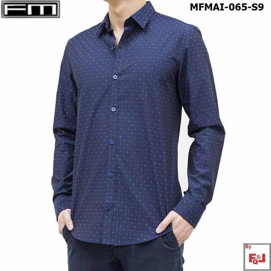 FM  เสื้อเชิ้ตแขนยาวพิมพ์ลาย (MFMAI-065-S9-LL) สี NAVY