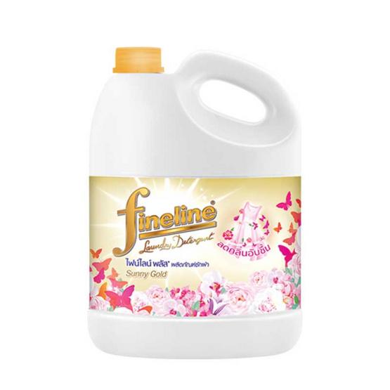 ไฟน์ไลน์ น้ำยาซักผ้า พลัส ซักผ้า สีทอง แบบแกลลอน 3,000 มล.