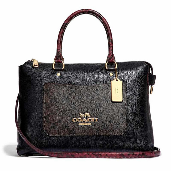 COACH F34280 EMMA SATCHEL IN SIGNATURE CANVAS COLORBLOCK (IMN2R) [MCF34280IMN2R]