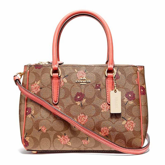 COACH F44961 MINI SURREY CARRYALL IN SIGNATURE CANVAS WITH TOSSED PEONY PRINT (IMLL9) [MCF44961IMLL9]