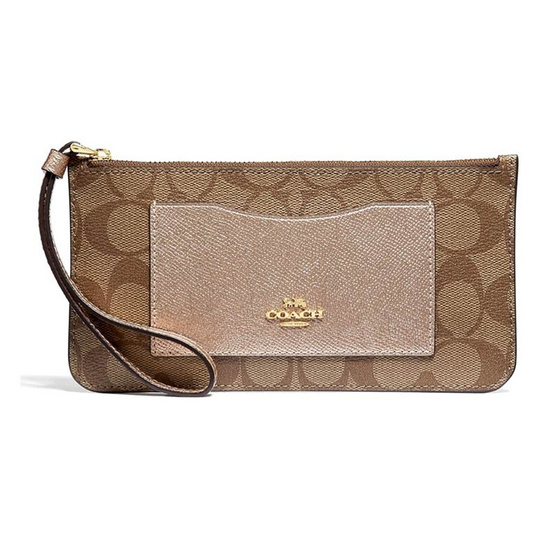 COACH F37565 ZIP TOP WALLET IN SIGNATURE CANVAS (IMO5I) [MCF37565IMO5I]