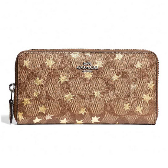 COACH F39085 ACCORDION ZIP WALLET IN SIGNATURE CANVAS WITH POP STAR PRINT (SVE7V) [MCF39085SVE7V]