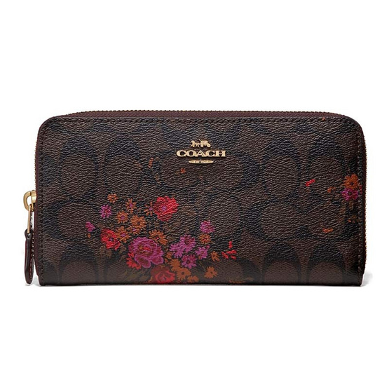 COACH F39156 ACCORDION ZIP WALLET IN SIGNATURE CANVAS WITH FLORAL BUNDLE PRINT (IMO81) [MCF39156IMO81]