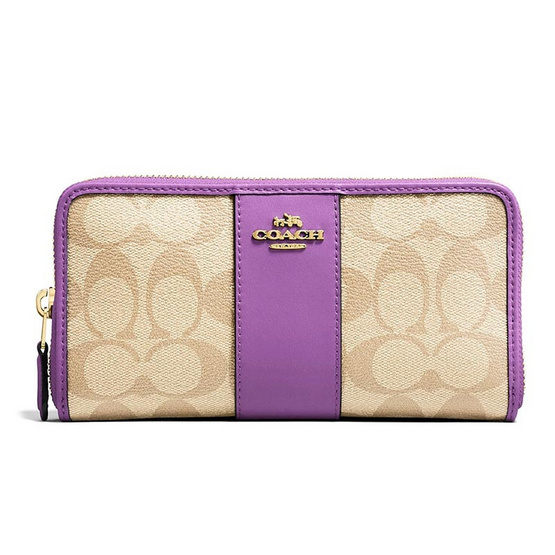 COACH F54630 ACCORDION ZIP WALLET IN SIGNATURE COATED CANVAS WITH LEATHER STRIPE (IMOG8) [MCF54630IMOG8]