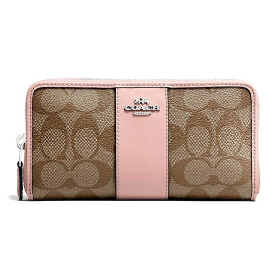 COACH F54630 ACCORDION ZIP WALLET IN SIGNATURE COATED CANVAS WITH LEATHER STRIPE (SVAVK) [MCF54630SVAVK]